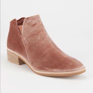 Dolce Vita pink velvet booties